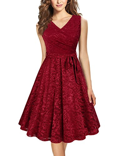Young Lady Dress - Laksmi Cocktail Dresses for Women Evening,Young Women Sleeveless Elegant Vintage Formal Prom Dress Cocktail Lace Party Tank Dress,Wine Red M