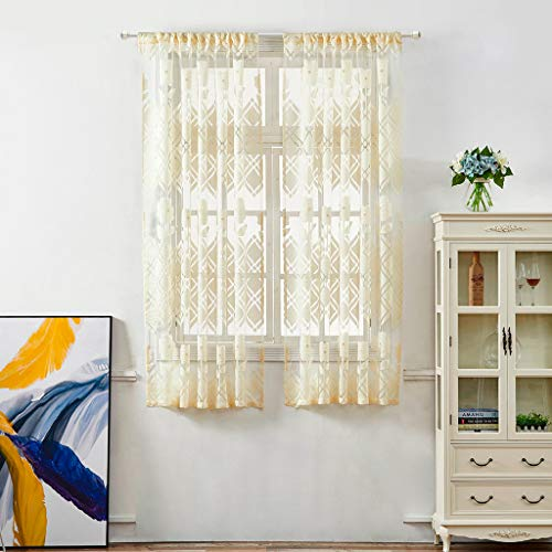 (Sheer Curtains Panels for Livingroom, ♥ Breathable Window Kitchen Shower Curtain 51x39 inch, Beyonds Golden Silk Ventilation Insulation Voile Treatment Patio Door Drapes)