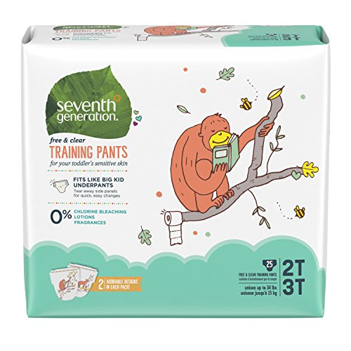 Seventh Generation Baby & Toddler Training Pants, Free & Clear, Medium Size 2T-3T up to 34lbs, 100 Count, Packaging May Vary