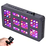 MAXSISUN Timer Control 300W LED Grow Light 12-band Dimmable Full Spectrum for Indoor Hydroponics Plants Veg and Flowering Review