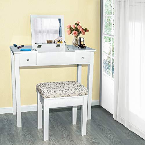 Homevibes Vanity Makeup Table Set Drawers Girls Dressing Table Bedroom Make Up Desk Flip Top Mirror Cushioned Stool Women, White