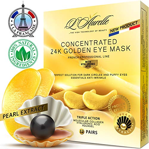 Gold Eye Mask Pearl Extract Under Eye Mask Anti-Aging Hyaluronic Acid 24k Gold Eye Patches Collagen Eye Mask Under Eye Pads for Moisturizing & Reducing Dark Circles Puffiness Wrinkles Crow's Feet