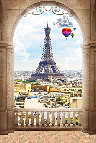 AOFOTO 6x8ft Eiffel Tower Of Archway View Background Paris City Landscape Photography Backdrop France Trip French Urban Architecture Photo Studio Props Adult Lovers Artistic Portrait Vinyl Wallpaper