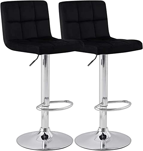 KYOTECH Modern Square Flannel Adjustable Bar Stool