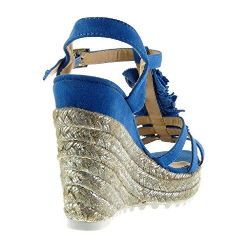 Angkorly Scarpe da Moda Sandali Mules con Cinturino Alla Caviglia Zeppe Donna Fiori Corda Lucide Tacco Zeppa Piattaforma 11.5 cm - Blu