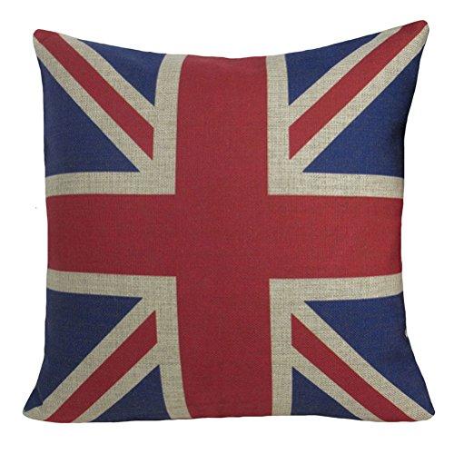 """Aeneontrue Cotton Linen The Union Jack Flag Print Square Decorative Pillow Cover Case 18"""" x 18"""" B036"""