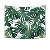 HVEST Monstera Leaves Tapestry,Palm Leaf Tapestry Wall Hanging,Dark Green Tropical Plant Wall Blanket for Bedroom,Living Room,Dorm Decor,60 W X 40 H inch(White)