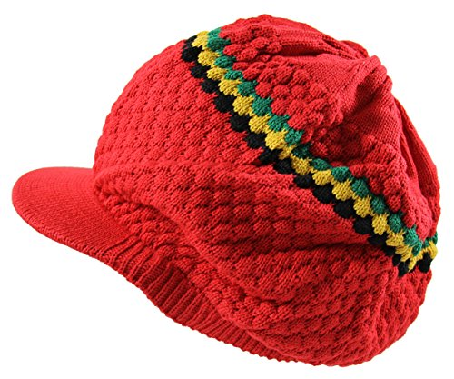 - RW Men's Cotton Rasta Beanie Visor (RED/RGY)