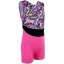 Toddler Sparkle Stripes Athletic Sleeveless Tumbling Biketard Leoatrds for Girls Gymnastics B134_Multicolor_110