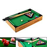 Combat 18'' Mini Tabletop Pool Table Indoor Setting Pool Table Green and Black and Wood Color Billiards Equipment