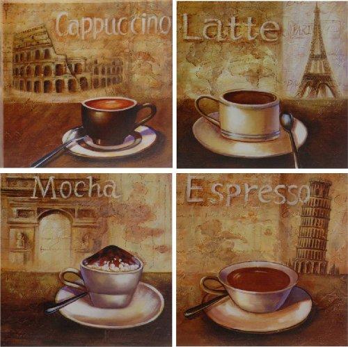 """4 X """"Kaffee"""" - Wandbild Auf Leinwand - Je 25 X 25 Cm - Kunstdruck"""