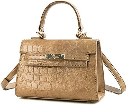 2019 Spring New Wave of Female Bag Coccodrillo Kelly Bag European and American Wild Messenger Borsa a tracolla Lady, cachi (Verde) - ZWH Nero