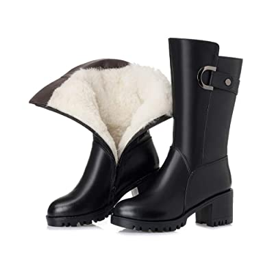Duberess Women's Leather Wool Lined Warm Winter Anti Slip Ankle Boots Snow Boots (6.5, Style2 Middle Heel Black): Shoes