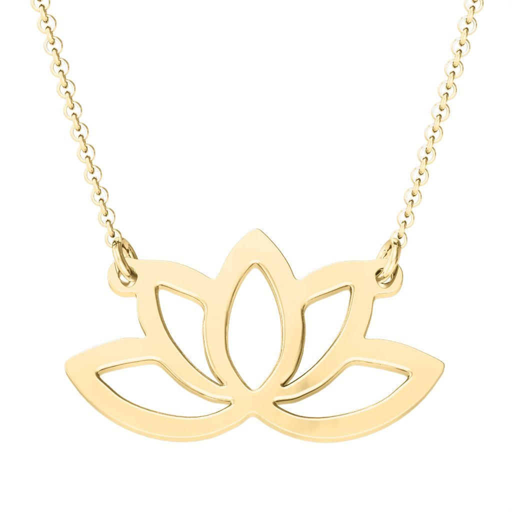 10K Gold Luminous Lotus Cutout Necklace by JEWLR