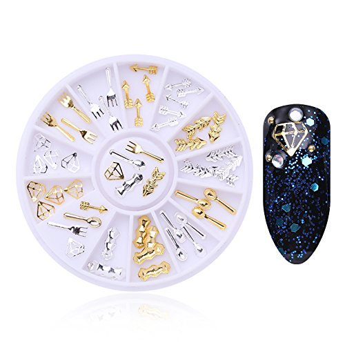 BONNIESTORE 1 Pc Gold Silver Spoon Fork Arrow Diamond Metal Rivet Nail Studs DIY 3D Nail Art Decoration In Wheel