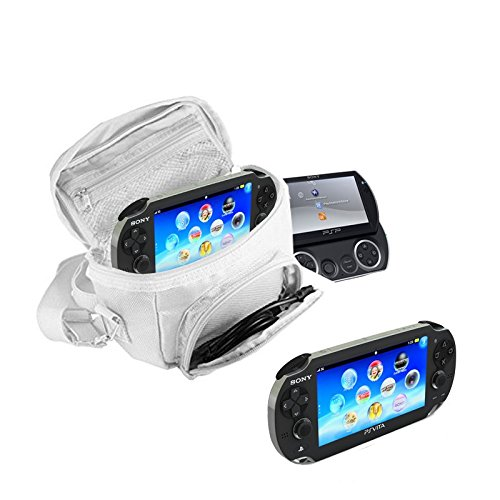 Orzly® - GAME & CONSOLE TRAVEL BAG for Sony PSP Consoles (GO/VITA/1000/2000/3000) Has Special Compartments for Games & Accessories. Bag includes Shoulder Strap + Carry Handle + Belt Loop - ()