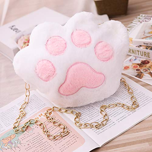 MIIA Plush Backpack - Bear Paw Plush Backpack Dolls Stuffed Cartoon Toy Children Gift Kids Toy for Girls - White - Small Big Clip D Yellow Fox Black Cute Kitty Unicorn Pink Minnie Raccoon