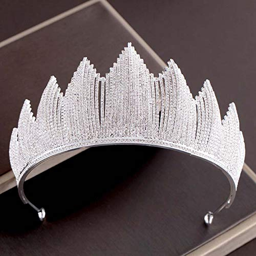 (Full Crystal Bride Crown Wedding Tiara Headdress Bridal Hair Ornaments Marriage Diadem Large Golden Queen Crown CR134 Silver)