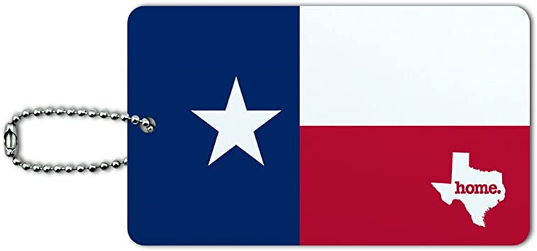Texas TX Home State Navy Blue Licensed Rectangle Leather Luggage Card ID Tag