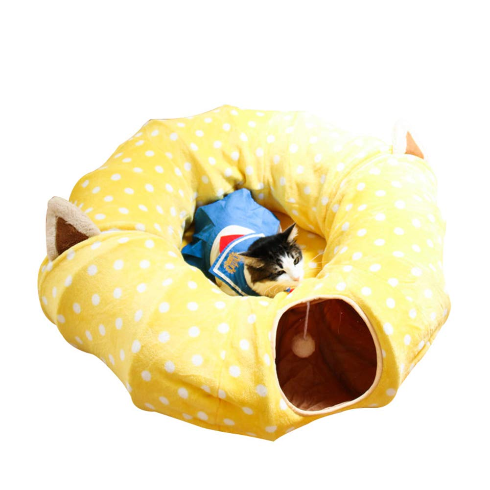 KDWYC Cat Tunnel Pet Toy, Can Accommodate Folding Cat Channels, 2-Way Foldable Removable Warm Cat Bed Tube Wrinkle Pop-Up Tunnel (Breathable),Yellow,Round by KDWYC