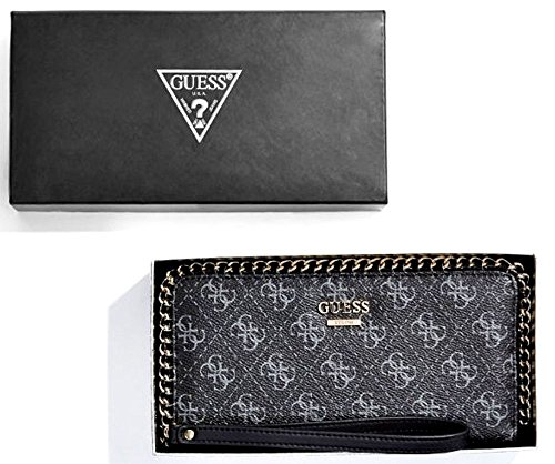 Clutch Aroud Zip GUESS Chain Confidential Wallet Black Logo nCqnZg