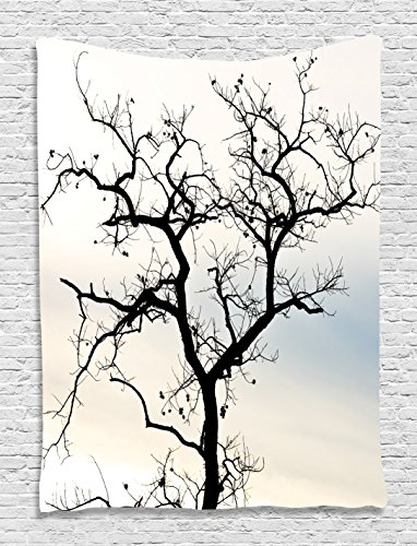 Ambesonne Forest Tapestry Fall Tree Black Branches Wall Hanging Art Prints Black and White Living Room/Bedroom/Dorm Decor Machine Washable - Silky Saten (60 W x 80 L)
