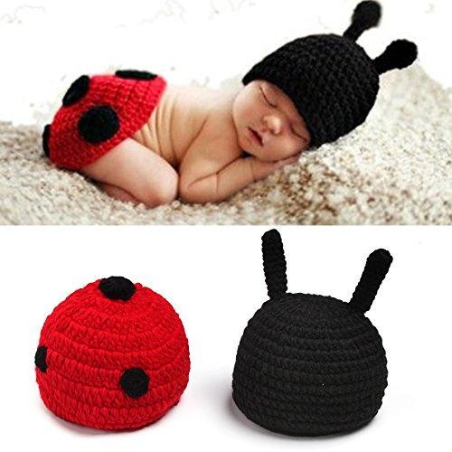 yazi Beetle Newborn Crochet Knit Costume Set Girl Photography Props Baby Shower Gift