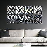 Woaills Wall Murals, 3D Mirror Acrylic Sticker Removable Wallpaper DIY Art Vinyl Decal Home Decor 32Pcs (Silver)