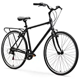 sixthreezero Explore Your Range Men's 7-Speed Hybrid Commuter Bicycle, Matte Black, 18″ Frame/700x38c Wheels