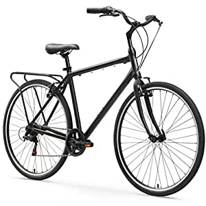 sixthreezero Explore Your Range Men's 7-Speed Hybrid Commuter Bicycle, 20-Inch Frame/700C Wheels, Matte Black