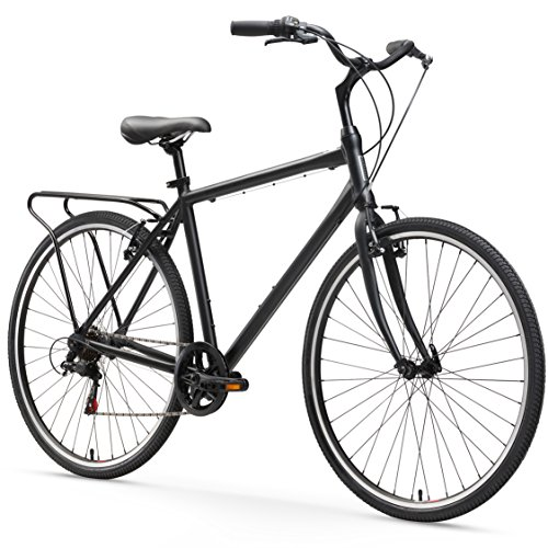 - sixthreezero Explore Your Range Men's 7-Speed Hybrid Commuter Bicycle, Matte Black, 18