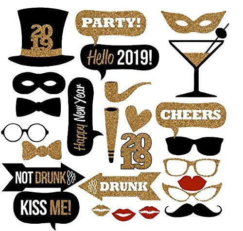 Home Office D/écor New Years Photo Booth Props Pcs 25.2019 New Years Eve Photo Props Decorations Supplies Great Themed New Year/'s Party Backdrop