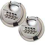 Dshall 4 Digit Combination Disc Padlock with Hardened Steel Shackle Silver Lock for Sheds, Storage Unit, Gym and Fence (2 pack)