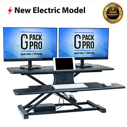 G Pack Pro - Standing Desk Converter | Electric Height Adjustable Stand Up Desk | Fits Dual Monitor | Removable Keyword Tray | Designed for Multipurpose Work | Black Color (Removable Double Tray)