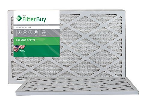 AFB MERV 8 Pleated AC Furnace Air Filter, Silver (2-Pack), (12x24x1) Inches