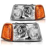 Headlight Assembly with Corner light for 2001-2011 Ford Ranger Chrome Housing Amber Corner lights headlamp