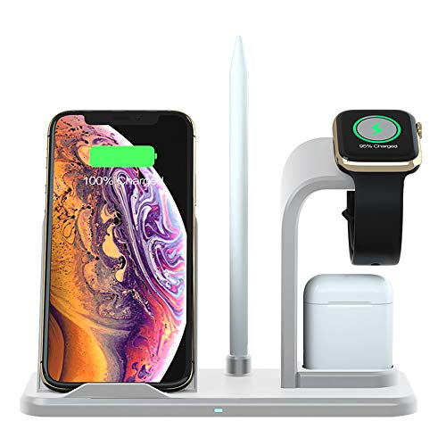 FDGAO Wireless Charger with QC3.0 AC Adapter, Fast Wireless Charging Stand 3 in 1 Compatible with Apple Watch 5/4/3/2/1, Airpods, iPhone 11/11 Pro/XS/XR/8/8 Plus,Samsung Galaxy S9+/S8+/S7/Note8, ect