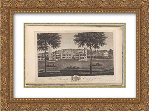 Cobham Hall - John Bayly - 40x28 Gold Ornate Frame and Double Matted Museum Art Print - Cobham Hall in The County of Kent, from The History and Topographical Survey of The County of Kent, Vols. 1-3
