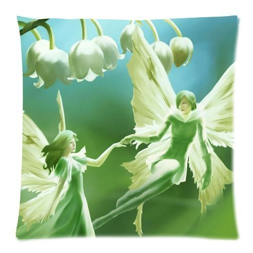 Soft Cotton Decorative Pillowcase Cushion Print Colorful White Convallaria Beautiful photo Gift For Babys Size 18X18 Two Sides