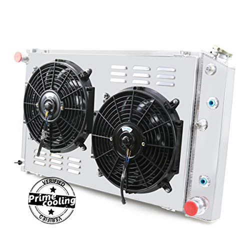 Primecooling 52MM 3 Row Core Aluminum Radiator +Fan (12 Inches Dia.) w/Louver Shroud for Chevy/GMC,C10 C20 C30 K10 K20 C/K 1970-87