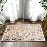 Cheap Super Area Rugs Accent Rug/Mat Small Throw 2×3 Rug Greek Medallion Distressed Vintage in Ivory & Gray, 2′ x 3′