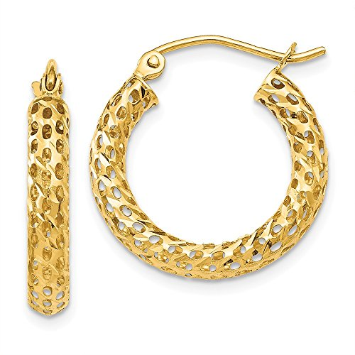 14k Yellow Gold Mesh Hoop Earrings Ear Hoops Set Fine Jewelry Gifts For Women For Her