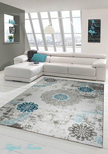 Designer Teppich Moderner Teppich Wollteppich mit Ornamente Wohnzimmerteppich Wollteppich in Türkis Grau Creme Größe 120x170 cm