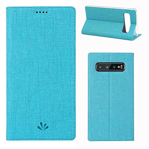 Tom's Village Cotton Smart Auto Sleep Wallet Case for Samsung Galaxy S10 PU Leather Magnetic Flip Cover Shockproof Flexible Soft TPU Ultra Slim Protective Bumper ID/Credit Card Slots Kickstand Blue