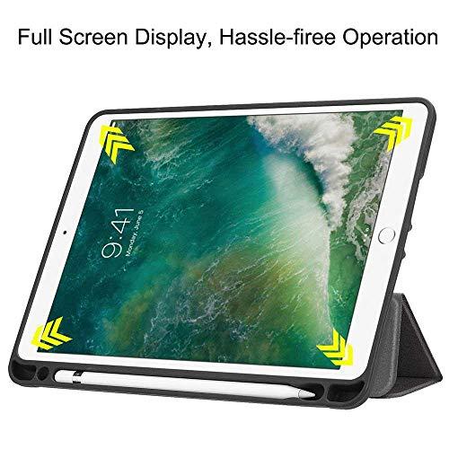 Umiwe Funda para iPad 9.7 2017/2018 Teclado Suave TPU Back Protective Stand Cover Auto Sleep/Wake con Soporte Integrado & Portalápices para Apple iPad 9.7 ...