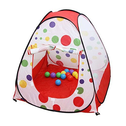 Polka Dot Teepee Easy Twist Play Tent, With Pop Up Technology, Safe and Sturdy for Kids Indoor / Outdoor Children Play Tent by Bai-rui