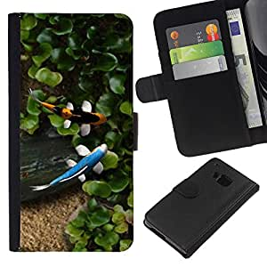 Planetar® Modelo colorido cuero carpeta tirón caso cubierta piel Holster Funda protección Para HTC One M9 ( Koi estanque de peces Verano Jardín Japonés )