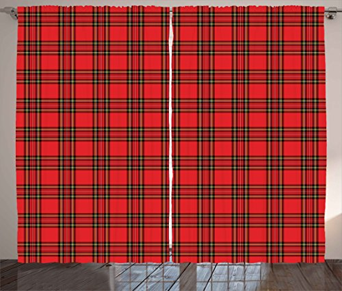 (Ambesonne Retro Curtains, Classical Plaid Pattern Scottish Striped Tartan Traditional Graphic Illustration, Living Room Bedroom Window Drapes 2 Panel Set, 108 W X 63 L inches, Vermilion Black)