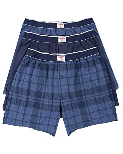 Navy Plaid Boxers - Buffalo David Bitton Mens 3 Pack Knit Boxers (Large, Blue/Navy/Plaid)