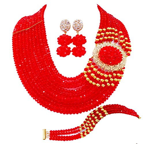 - aczuv Crystal Royal Blue Beads Jewelry Set African Necklaces for Women Nigerian Wedding Jewelry Sets (Red)